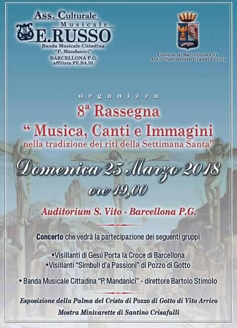 """Barcellona PG. """"Musica, Canti e Immagini della Settimana Santa"""" all'Auditorium San Vito"""