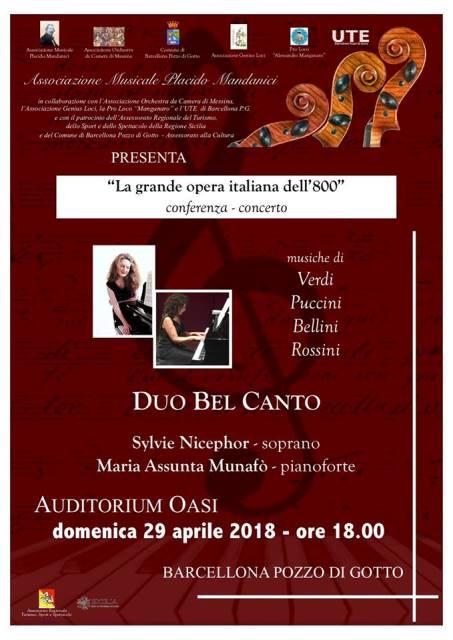"""Barcellona PG. La conferenza-concerto """"Duo Bel Canto"""" con Sylvie Nicephor e Maria Assunta Munafò"""