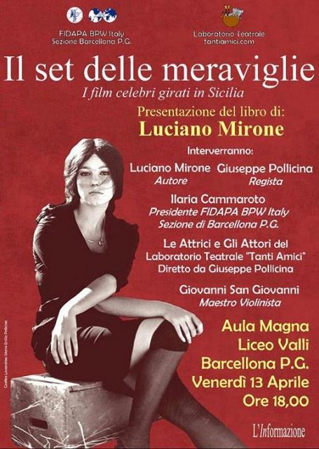 """Barcellona PG. La presentazione del libro """"Il set delle meraviglie"""" di Luciano Mirone"""