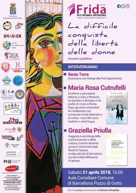 """Barcellona PG. Incontro su """"La difficile conquista della libertà delle donne"""" organizzato da Frida Onlus presso l'Aula Consiliare"""
