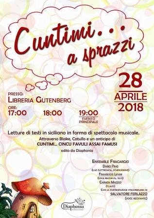 """Barcellona PG. L'evento """"Cuntimi… a sprazzi"""" con l'Ensamble """"Fracargio"""" alla Libreria Gutenberg"""