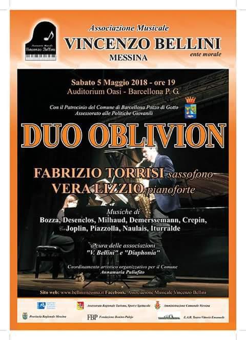 """Barcellona PG. Il """"Duo Oblivion"""" in concerto all'Auditorium Oasi"""