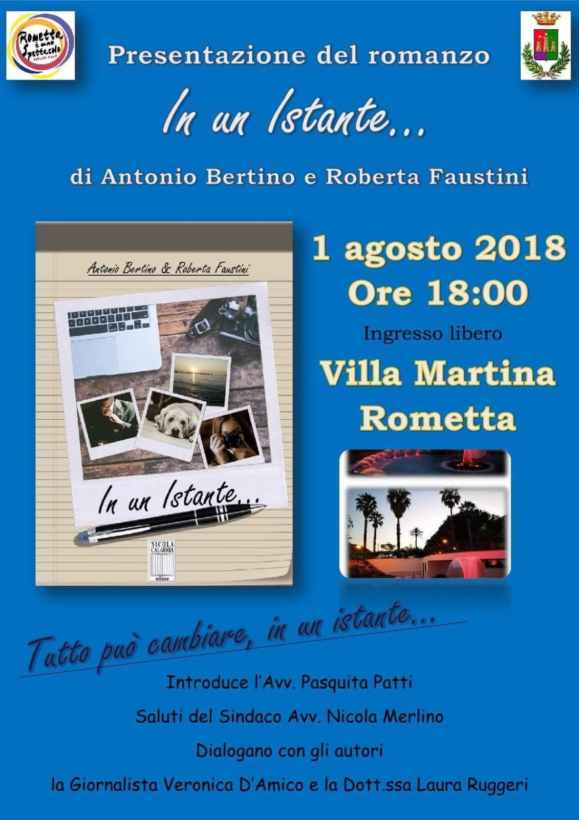 """Rometta Marea. Antonio Bertino e Roberta Faustini presentano il romanzo """"In un istante…"""" a Villa Martina"""