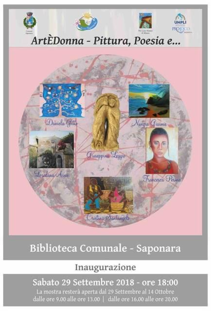 """Saponara. La Mostra """"ArtÈDonna – Pittura, Poesia e…"""" alla Biblioteca Comunale"""