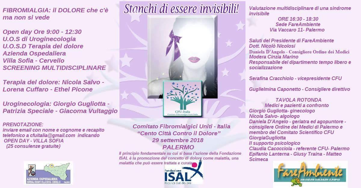 """Palermo. Open Day e Convegno di CFU – ITALIA per l'evento """"Cento Città contro il Dolore"""""""