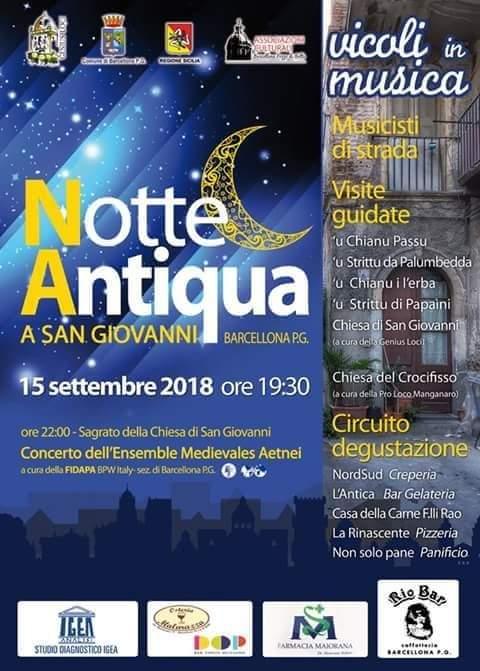 """Barcellona PG. La VI edizione della """"Notte Antiqua"""" nella zona di San Giovanni"""