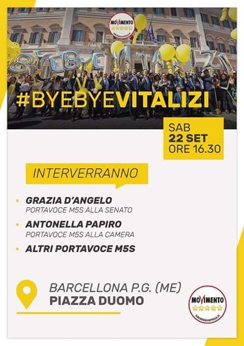 """Barcellona PG. Il meetup """"Barcellona in MoVimento"""" in Piazza Duomo con la Sen. Grazia D'Angelo e l'On. Antonella Papiro per """"Bye bye Vitalizi"""""""