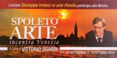 """La pittrice Pinella Imbesi partecipa alla Mostra """"Spoleto Arte incontra Venezia"""" a cura di Vittorio Sgarbi"""
