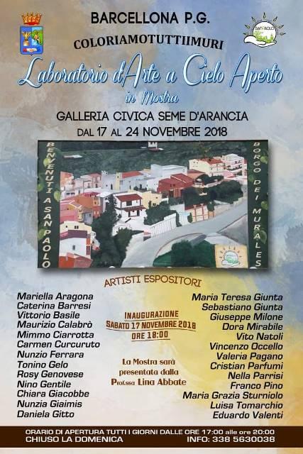 """Barcellona PG. Mostra collettiva di ben 26 artisti alla Galleria Civica """"Seme d'Arancia"""""""