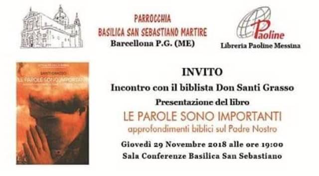 Barcellona PG. Convegno con il biblista Don Santi Grasso presso la Basilica di San Sebastiano