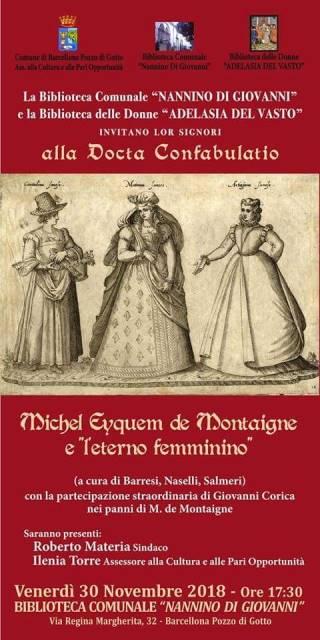 """Barcellona PG. Conferenza su """"Michel Eyquem de Montaigne e l'eterno femminino"""" alla Biblioteca comunale"""