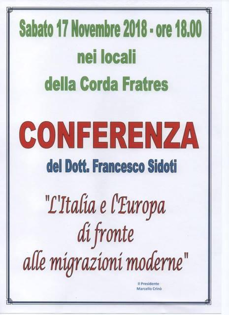 """Barcellona PG. Alla Corda Fratres la Conferenza """"L'Italia e l'Europa di fronte alle migrazioni moderne"""", a cura del Dott. Francesco Sidoti"""