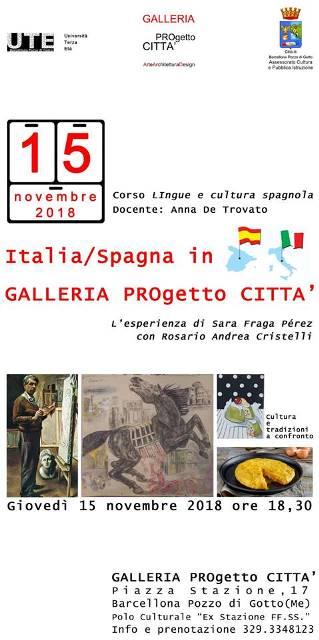"""Barcellona PG. L'evento """"Italia/Spagna in Galleria PROgetto CITTA'"""" all'UTE"""