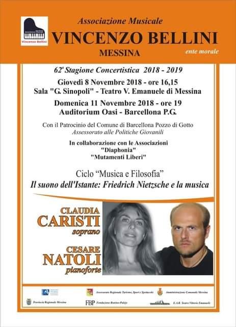 Barcellona PG. Claudia Caristi e Cesare Natoli in concerto all'Auditorium Oasi