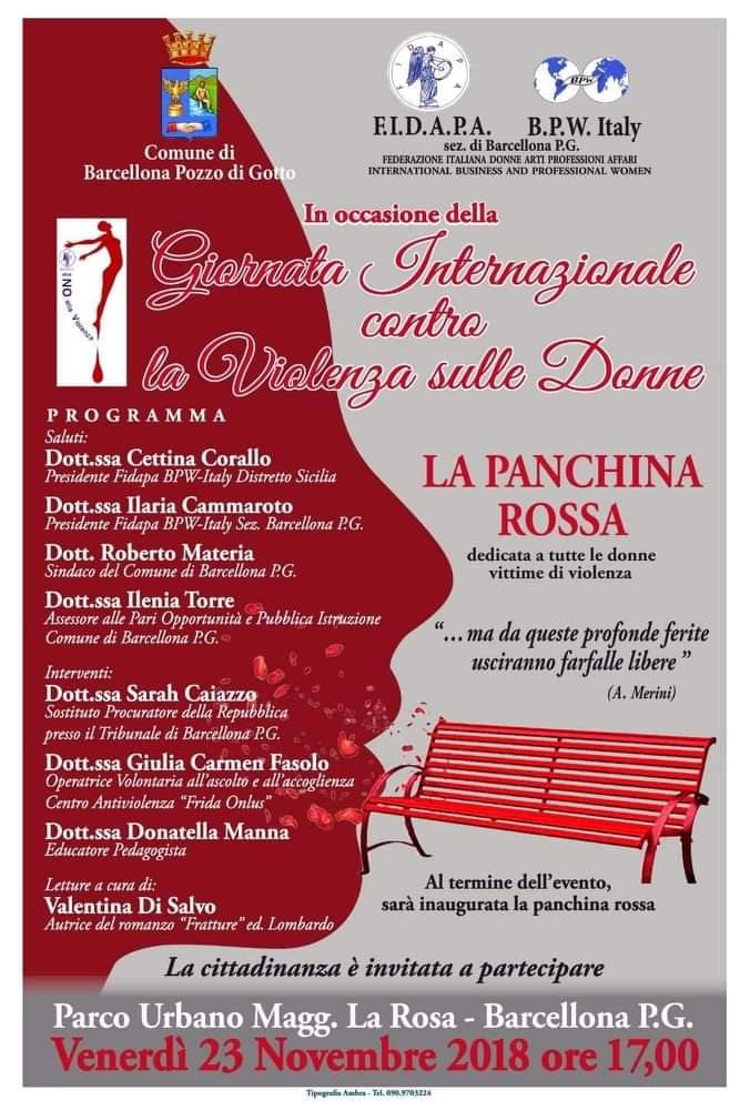 Barcellona PG. Convegno e inaugurazione della Panchina Rossa per la Giornata Internazionale contro la Violenza sulle Donne