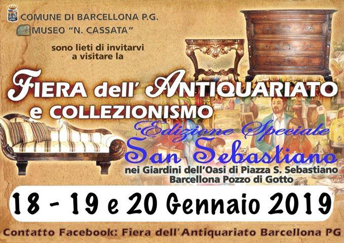 Barcellona PG. Fiera dell'antiquariato, collezionismo ed artigianato: edizione speciale San Sebastiano
