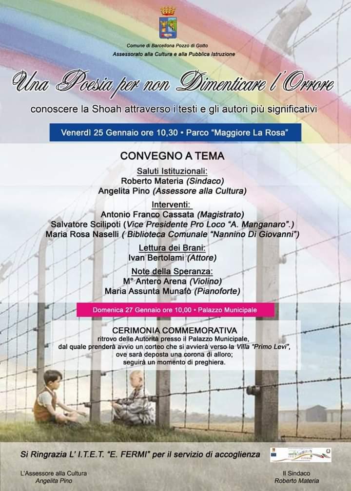 """Barcellona PG. La """"Giornata della Memoria"""", convegno e corteo in ricordo delle vittime dell'Olocausto"""