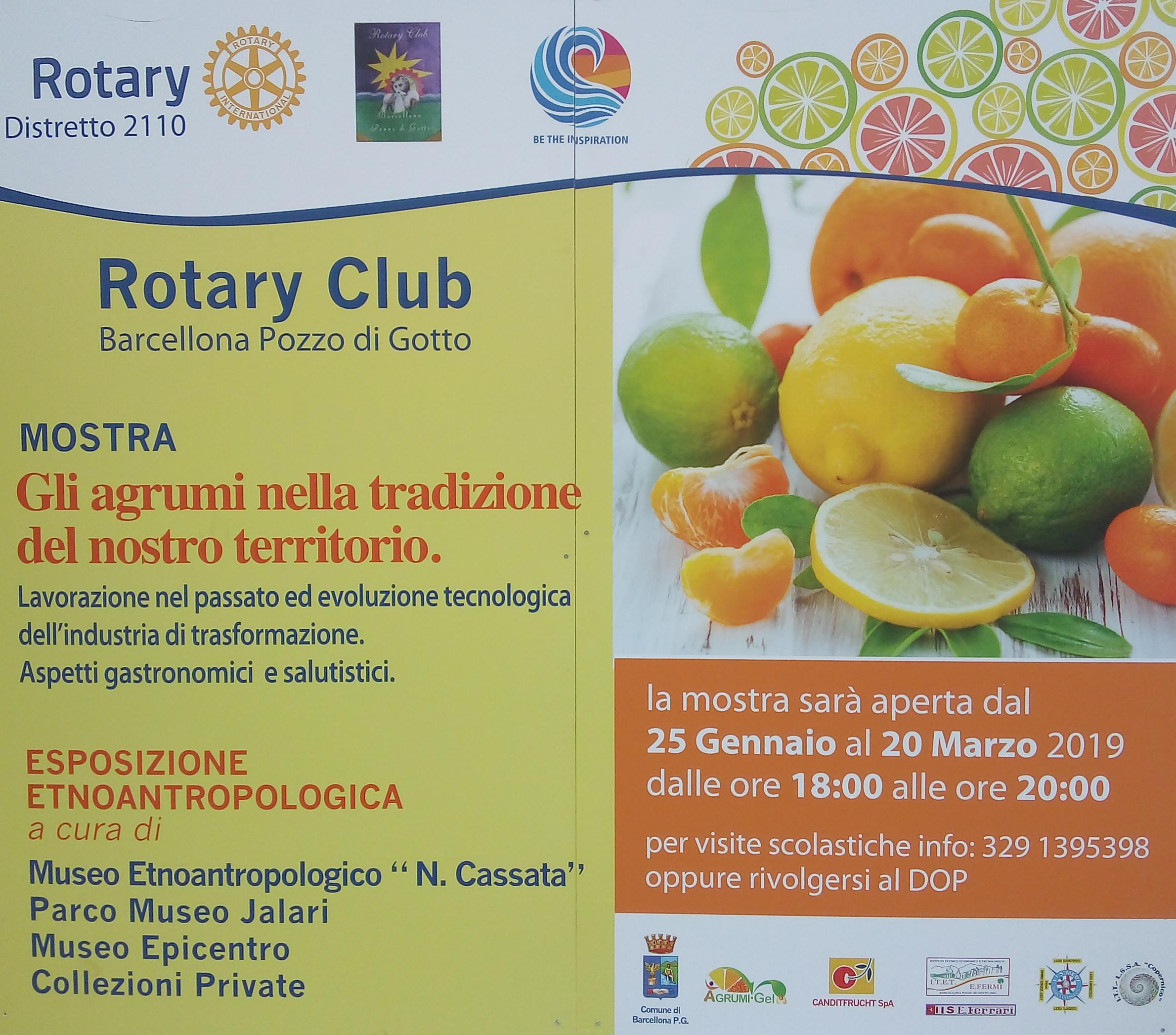 """Barcellona PG. Premio Rotary 2018/2019. Mostra ed Esposizione Etnoantropologica alla Galleria Civica """"Seme d'Arancia"""""""