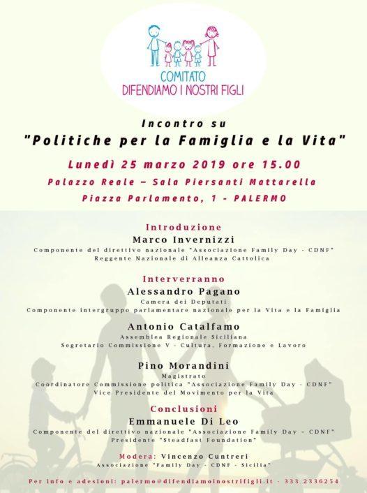 Il Family Day convoca gli amministratori siciliani, il 25 marzo all'Ars di Palermo