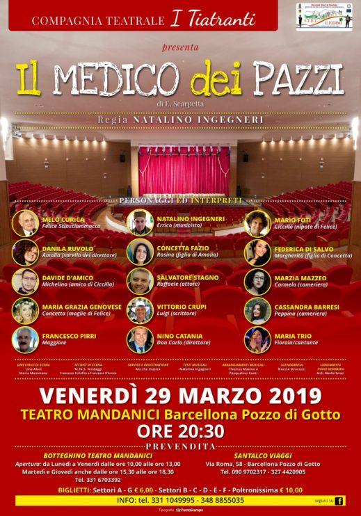 """Al Teatro Mandanici, verso il sold-out """"Il Medico dei Pazzi"""" dell'Associazione 'I Tiatranti'"""