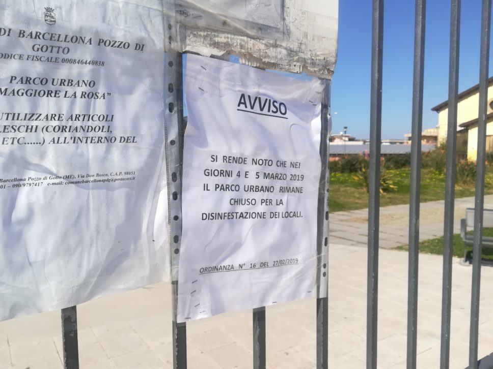 Barcellona PG. Chiusura Parco 'La Rosa', #Noicisiamo evidenzia disappunto