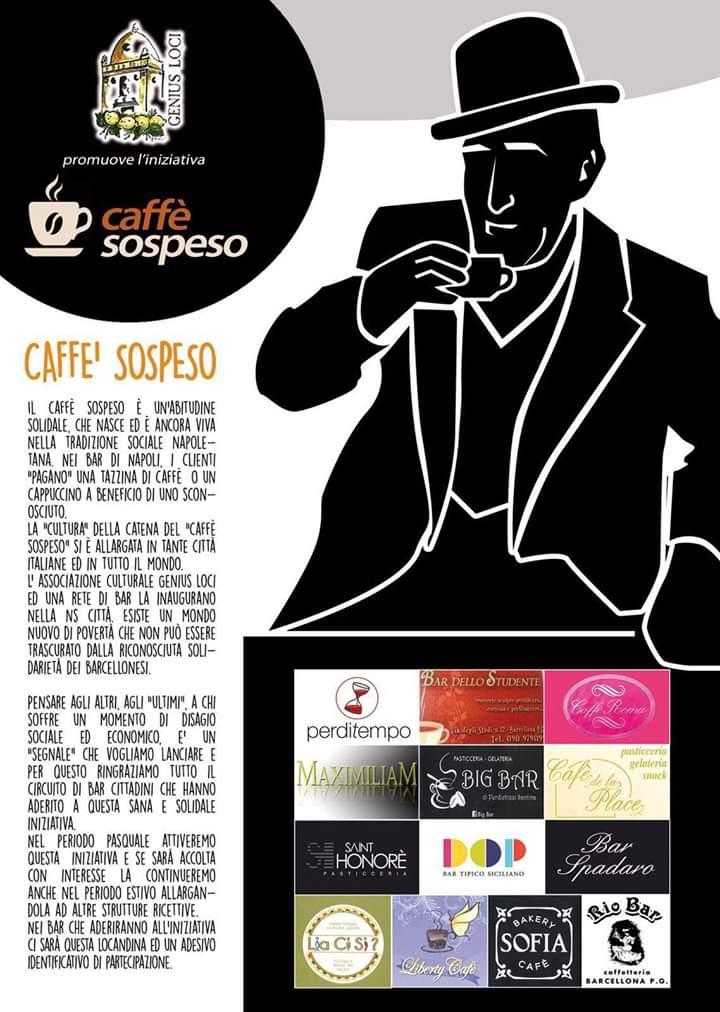 """Barcellona PG. La Genius Loci promuove l'iniziativa sociale e civile del """"caffè sospeso"""""""