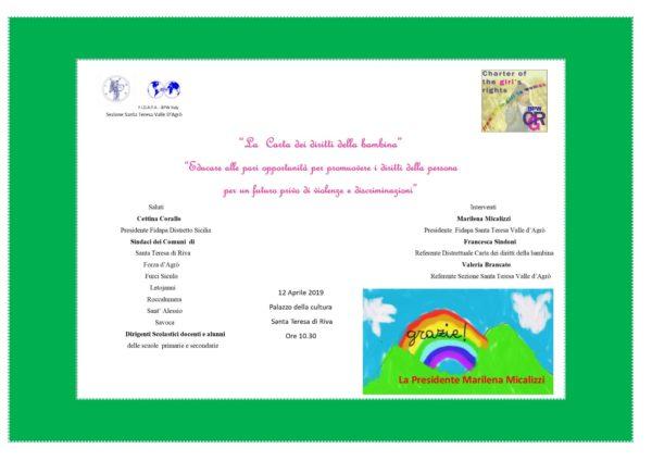 Fidapa Santa Teresa-Valle D'Agrò: 7 comuni adottano la carta dei diritti della bambina, presentazione a Villa Ragno