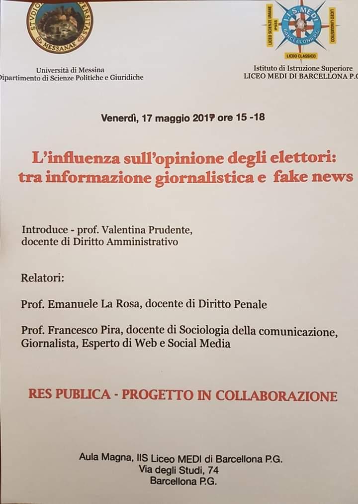 """Barcellona PG. Il Convegno """"L'influenza sull'opinione degli elettori: tra informazione giornalistica e fake news"""" all'I.S. Liceo Medi"""