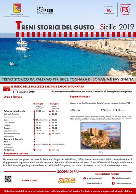 Treni storici del gusto, da Palermo per Erice, Tonnara Bonagia e Favignana