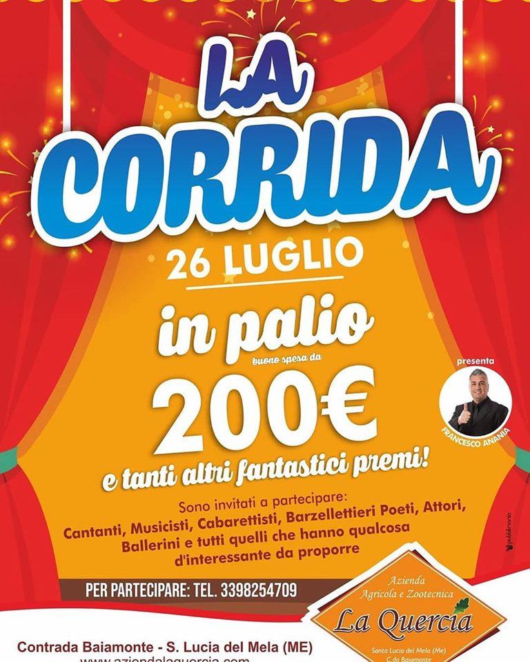 """Santa Lucia del Mela. 200 euro il palio a """"La Corrida"""" presentata da Francesco Anania"""