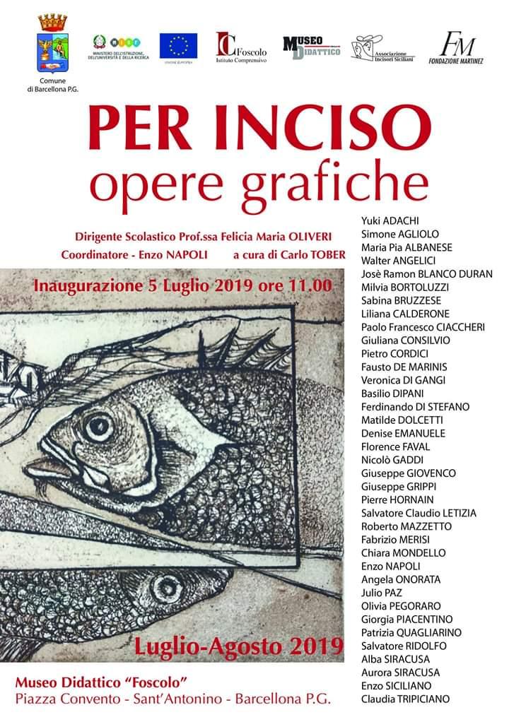 """Barcellona PG. La Mostra """"PER INCISO – Opere grafiche"""" al Museo Didattico """"Foscolo"""""""