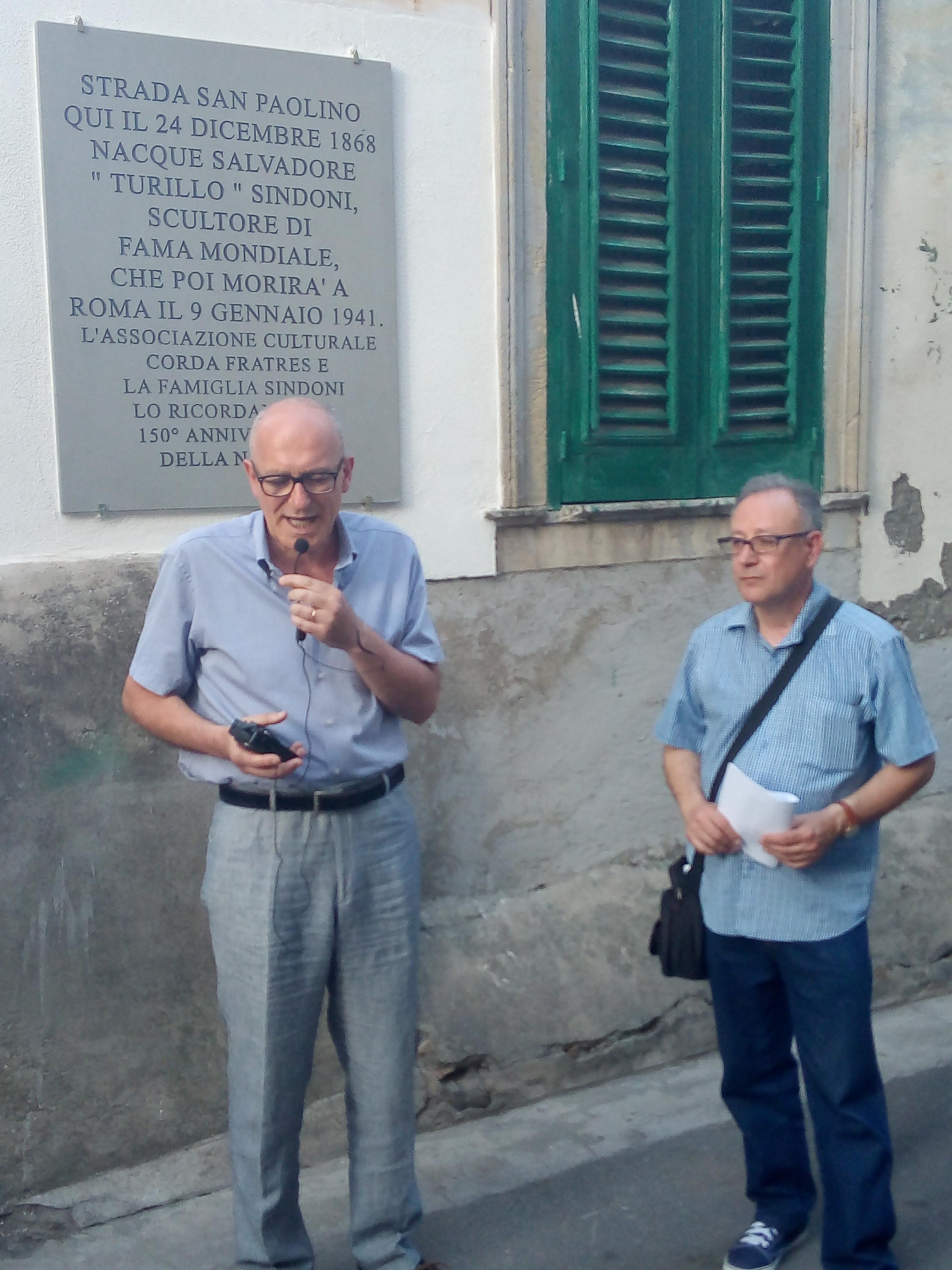 Barcellona PG. La Corda Fratres ricorda lo scultore Turillo Sindoni. Lapide e passeggiata itinerante