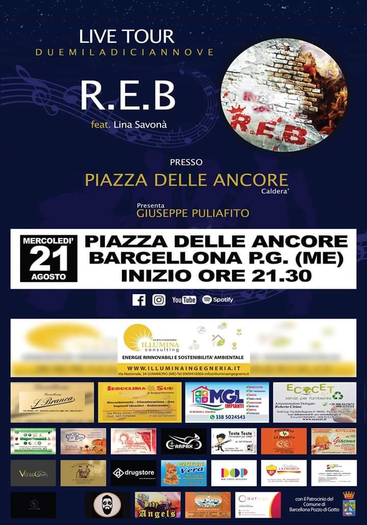 Barcellona PG. I R.E.B. con Lina Savonà in concerto a Piazza delle Ancore di Calderà
