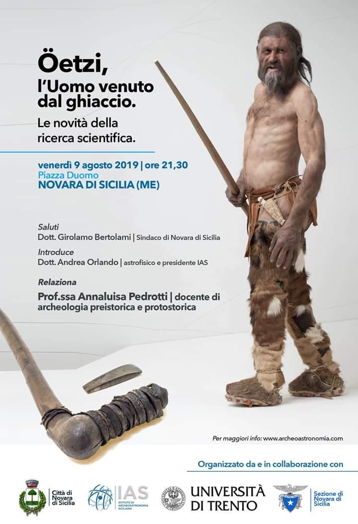 """Novara di Sicilia. Incontro culturale dedicato a """"Oetzi, l'Uomo venuto dal ghiaccio"""" in Piazza Duomo"""