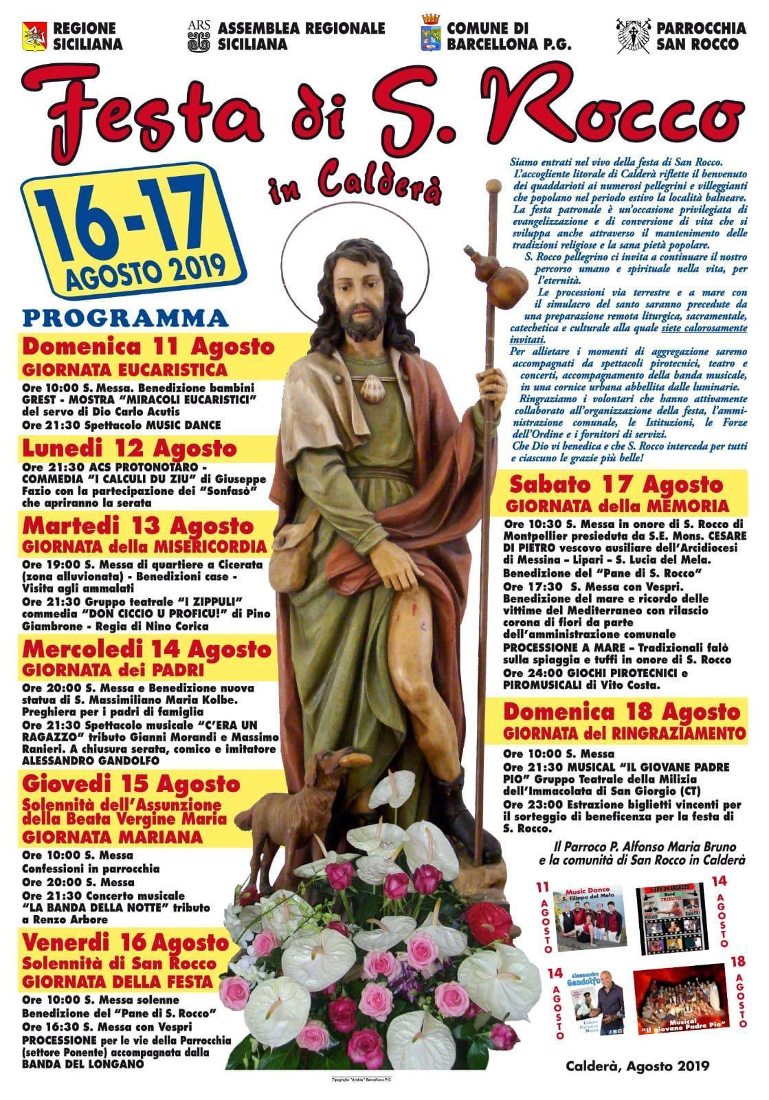 Barcellona PG. La Festa di San Rocco 2019 a Calderà, fra religiosità, tradizione e divertimento