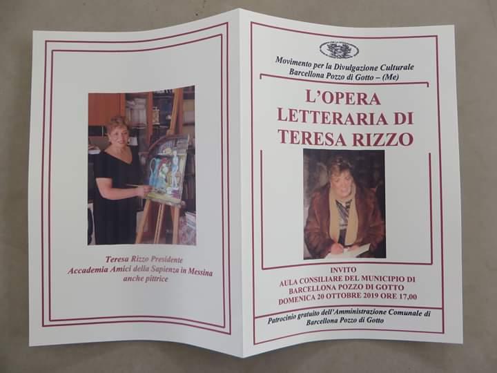 """Barcellona PG. L'evento """"L'opera letteraria di Teresa Rizzo"""" nell'Aula Consiliare di Palazzo Longano"""