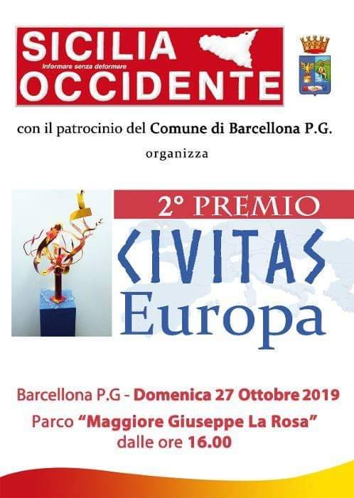 """Barcellona PG. La II edizione del """"Premio Civitas Europa"""" al Parco """"Maggiore La Rosa"""""""