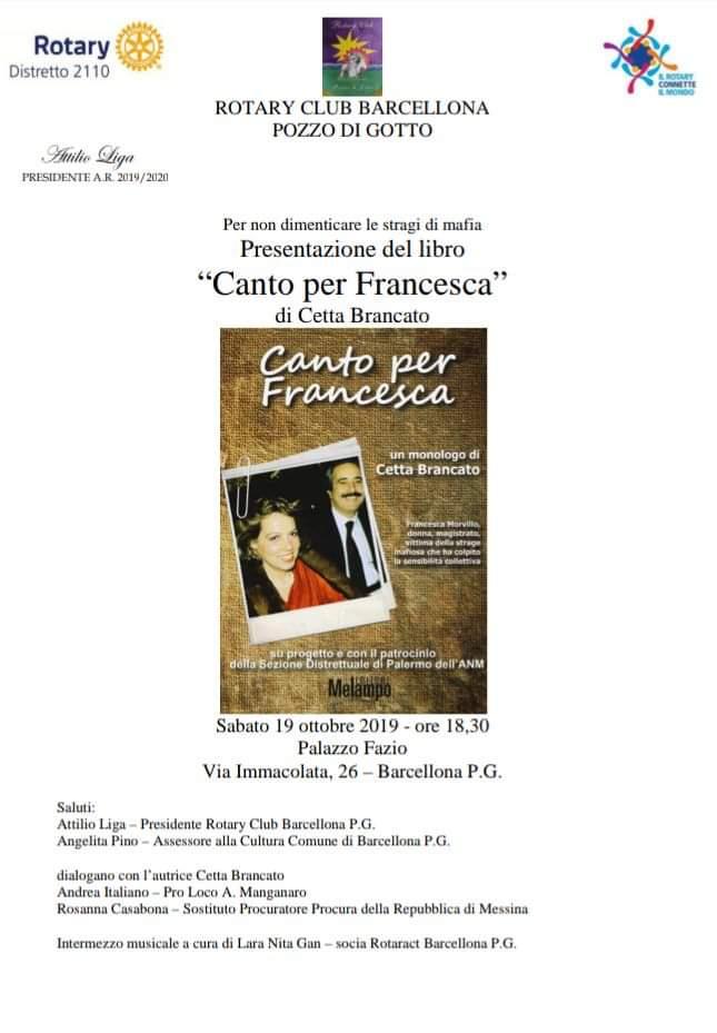 """Barcellona PG. Il Rotary Club presenta """"Canto per Francesca"""" di Cetta Brancato a Palazzo Fazio"""