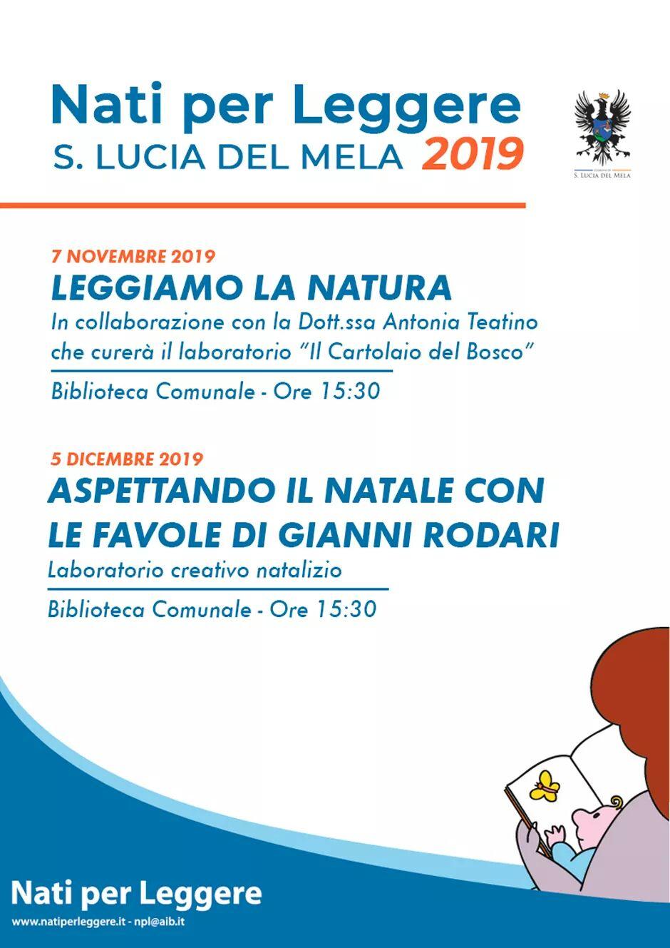 S. Lucia Mela. Adesione a 'Nati per leggere', due appuntamenti: 7 novembre e 5 dicembre 2019