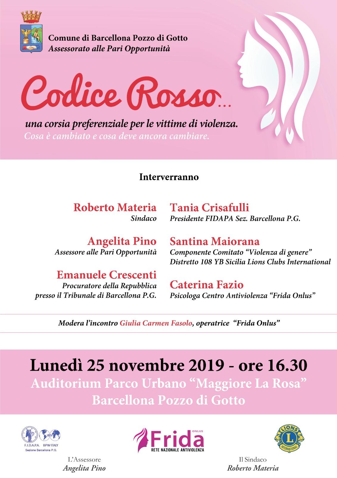 """Barcellona PG. Il convegno """"Codice Rosso"""" all'Auditorium del Parco Urbano """"Maggiore La Rosa"""""""