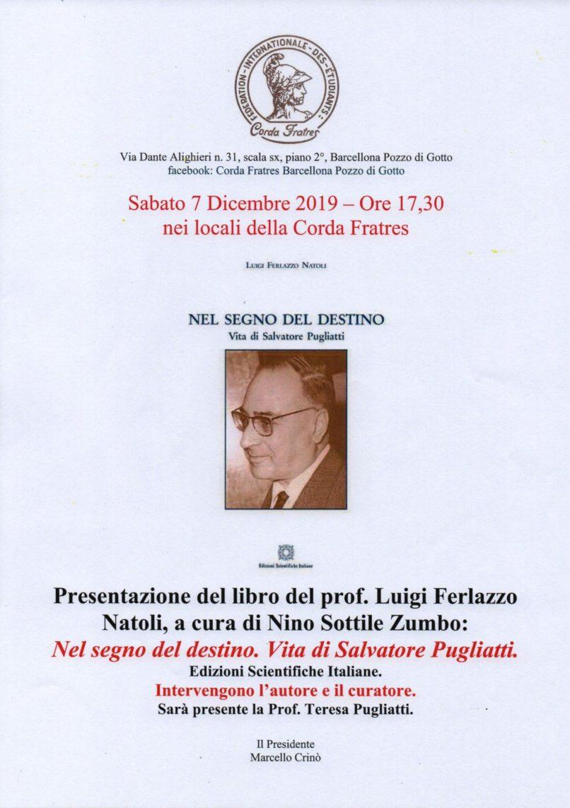 Barcellona PG. Corda Frates, presenta libro sulla vita di Salvatore Pugliatti