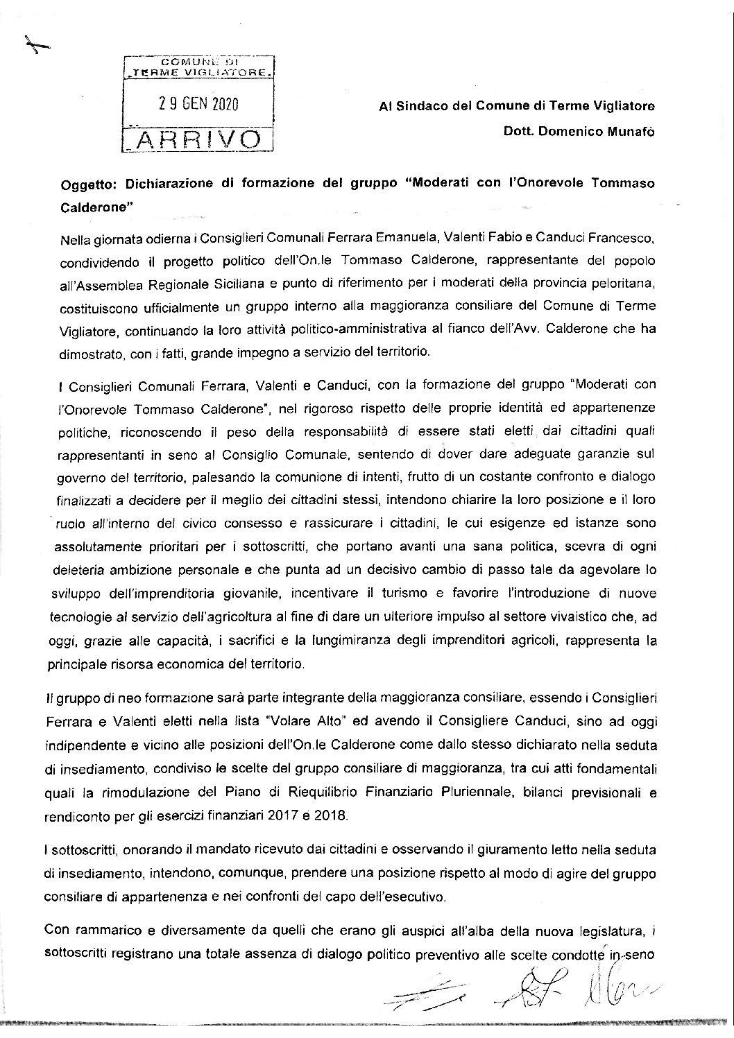 """Terme Vigliatore. Consiglio, ufficializzato il gruppo """"Moderati con l'Onorevole Tommaso Calderone"""""""