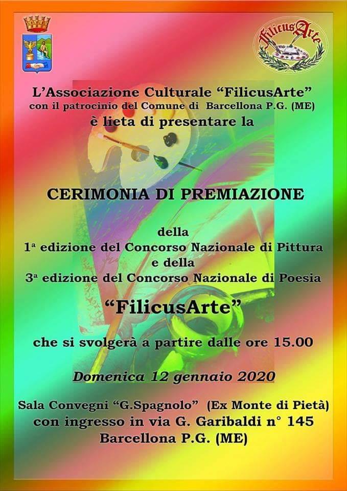 """Barcellona PG. La Cerimonia di Premiazione del I Concorso di Pittura e del III Concorso di Poesia """"FilicusArte"""" all'Auditorium Oasi"""