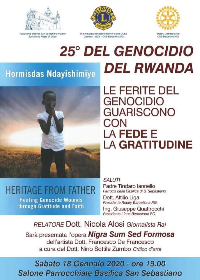 Barcellona PG. Commemorazione del 25° del Genocidio in Rwanda nel Salone della Basilica di San Sebastiano