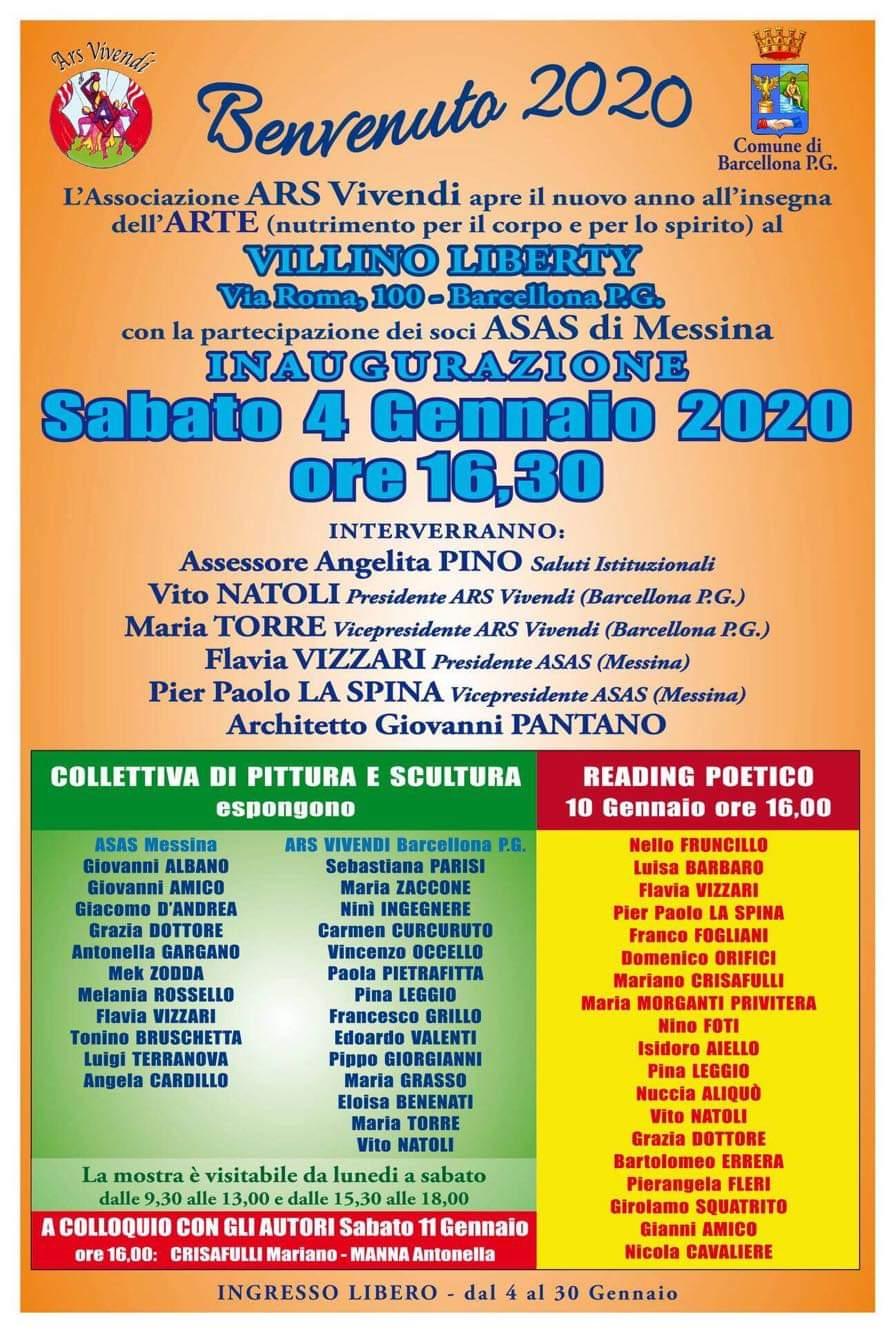 """Barcellona PG. Mostra Collettiva """"Benvenuto 2020"""" di Ars Vivendi e A.S.A.S. al Villino Liberty"""