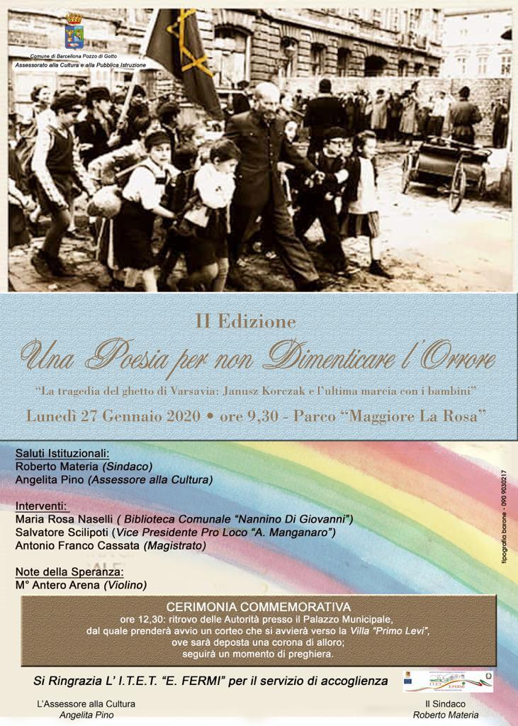 """Barcellona PG. L'Amministrazione Comunale celebra la """"Giornata della Memoria"""" ricordando le vittime della barbarie nazista"""