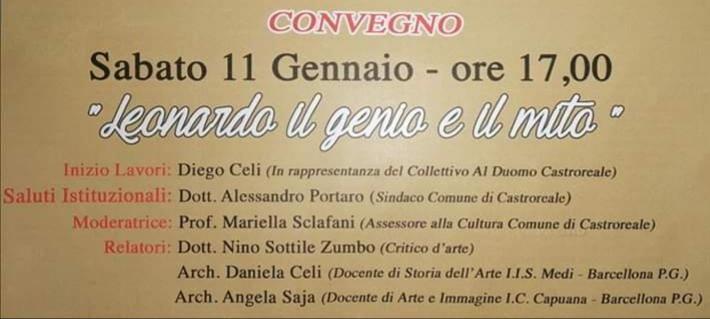 """Castroreale. Il Convegno """"Leonardo il genio e il mito"""" al Bar Ristorante """"Al Duomo"""". La Prof. Angela Saja: """"La Cultura come occasione di crescita"""""""