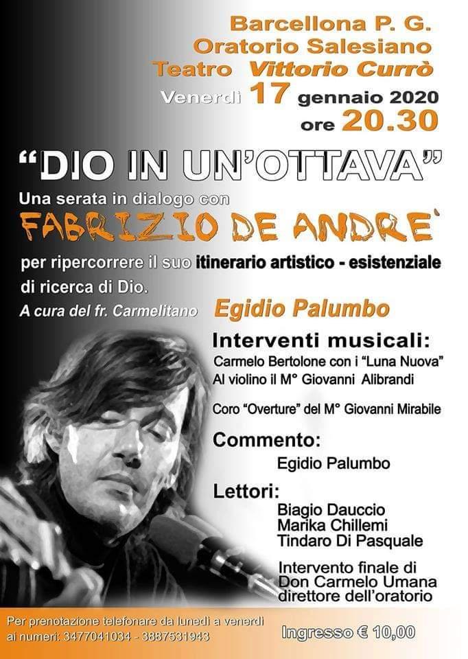 """Barcellona PG. L'evento """"Dio in un'ottava. Una serata in dialogo con Fabrizio De André"""" al Teatro dell'Oratorio Salesiano"""
