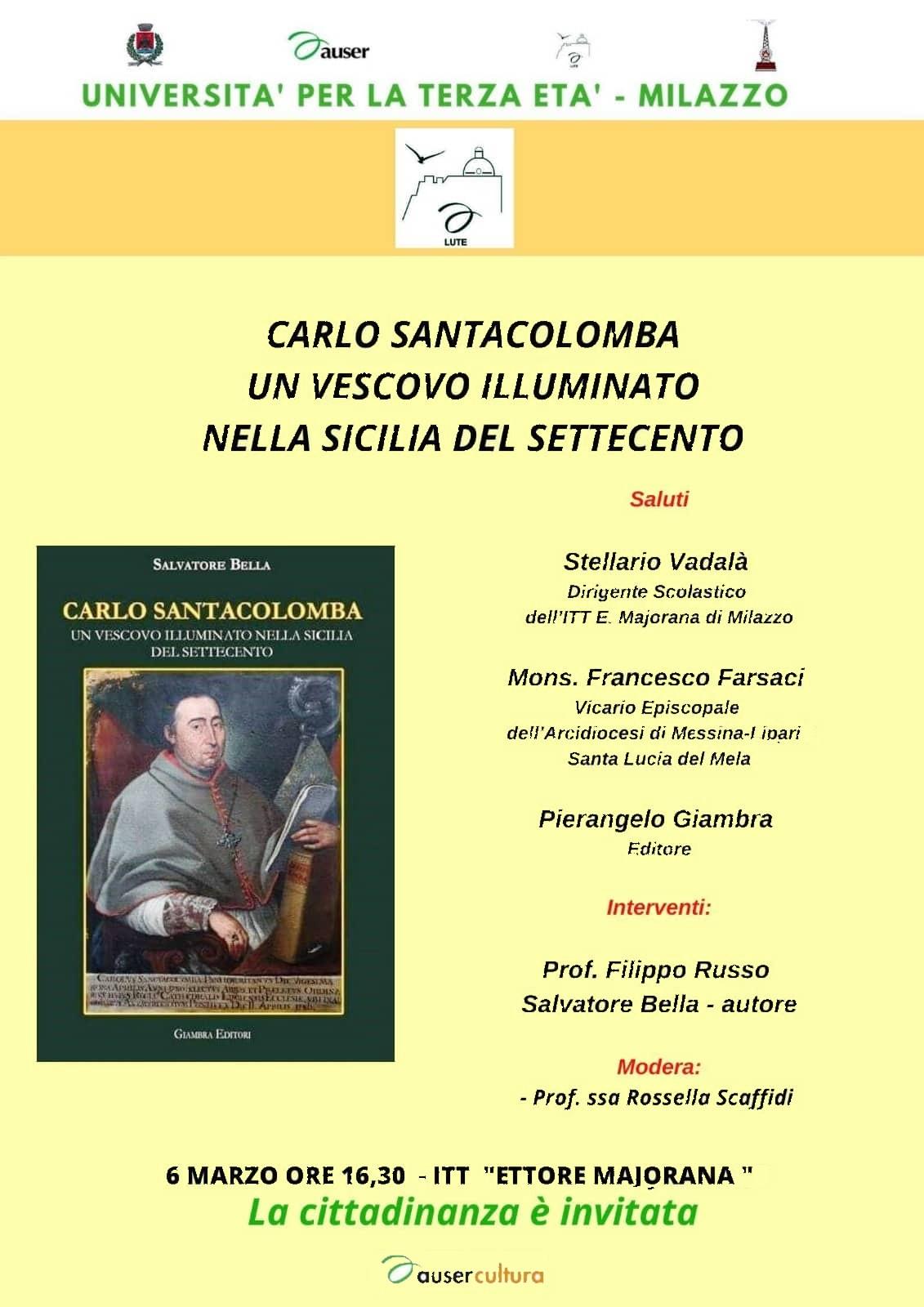"""Milazzo. Si presenta il libro """"Carlo Santacolomba. Un vescovo illuminato nella Sicilia del settecento"""""""