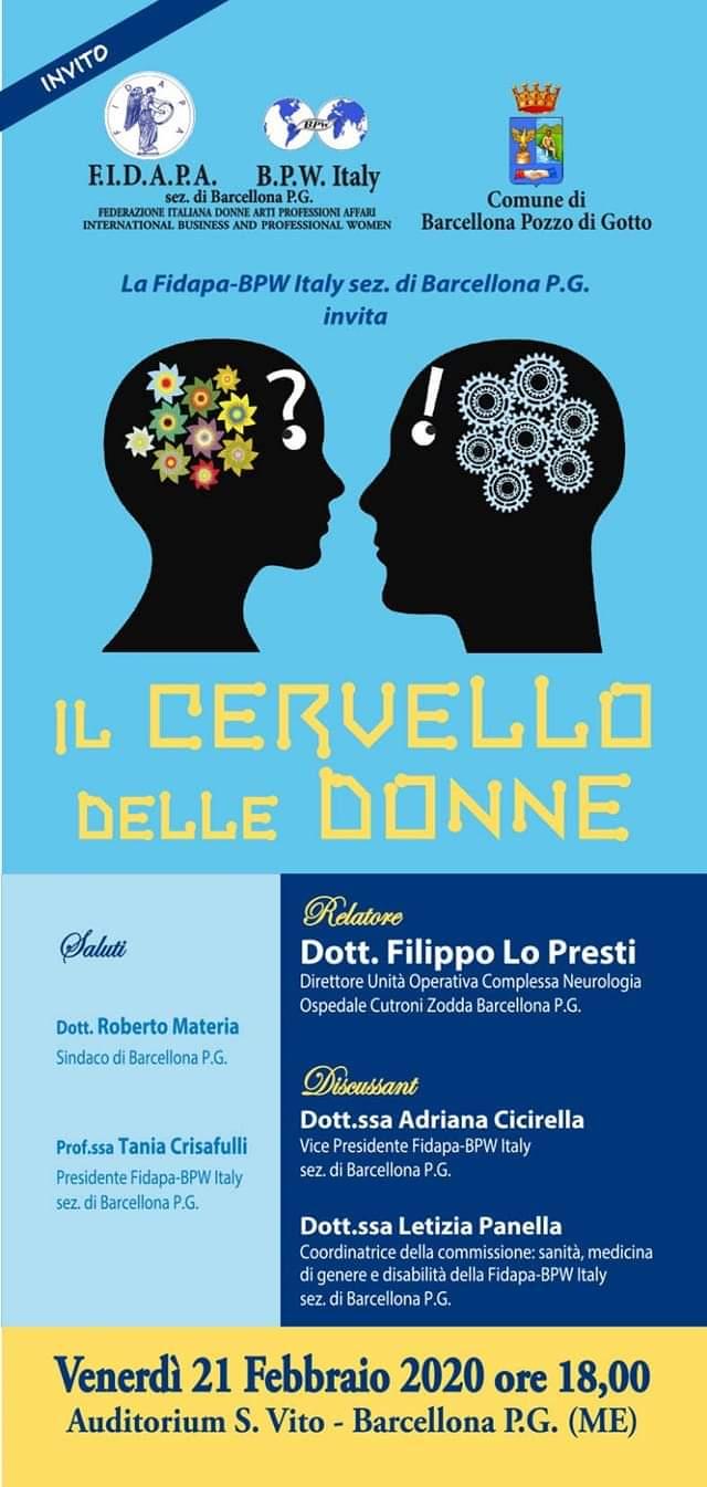 """Barcellona PG. Convegno Fidapa BPW Italy """"Il cervello delle donne"""" all'Auditorium San Vito"""